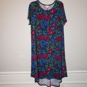LuLaRoe Hunter Green Roses Carly Swing Dress  XL
